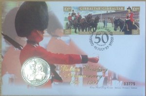 GIBRALTAR FDC 1997 QE2 GOLDEN WEDDING COIN COVER (MERCURY)