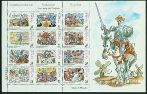 SPAIN 2951-2952, CERVANTES, DON QUIJOTE TWO SOUV. SHEETS. MINT, NH. F-VF. (103)