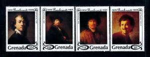 [100167] Grenada 1993 Art Paintings Rembrandt Self Portraits  MNH