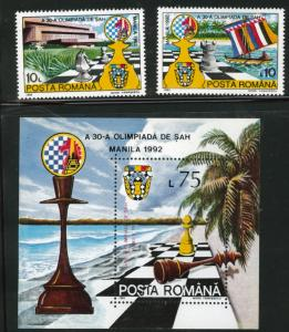 ROMANIA Scott 3746-8 MNH** 1992 Chess Olympic set