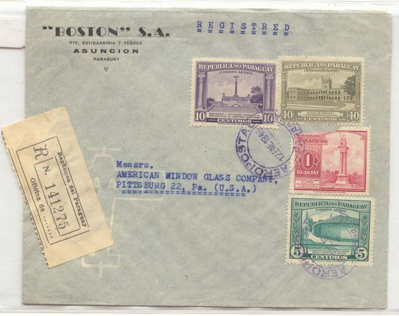 Paraguay 1946 registered email US to (letter cover)