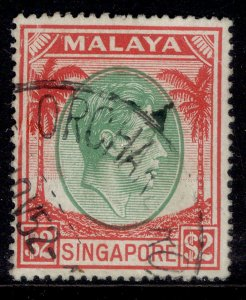 SINGAPORE GVI SG29, $2 green & scarlet, FINE USED.