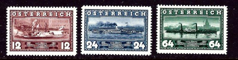 Austria 382-84 MNH 1937 Steamships 2017 CV $14.50