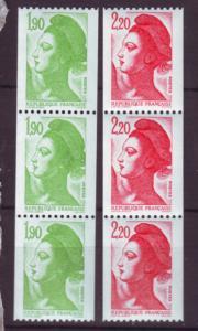 J20228 jlstamps 1983-7 france strips of 3 mnh #1895,1897a coils liberty