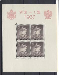 Poland, 314, Visit King Carol Romania Sheet(4),**Hinged**