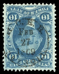 B371 U.S. Revenue Scott R27c 10c Power of Attorney, 1869 railroad h/s cancel