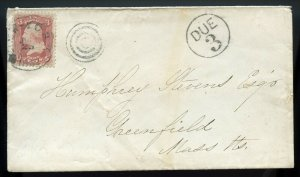 U.S. Scott 65 on 1862 Cover to Greenfield, Massachusetts with DUE 3 Marking