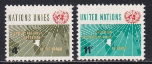 United Nations - New York # 110-111, Operations in the Congo, Used, 1/3 Cat.