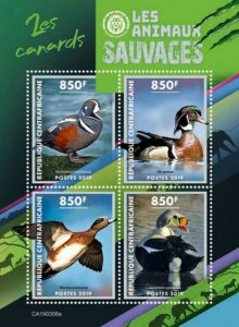 Central Africa - 2019 Wild Animals Ducks - 4 Stamp Sheet - CA190308a