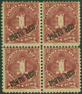 PUERTO RICO #J1 FINE (2)NH (2)LH BLOCK OF 4 BL430