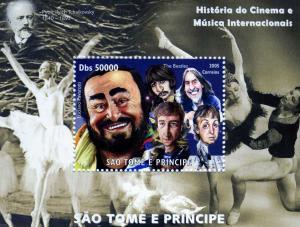 Sao Tome & Principe 2005 Pavarotti-Beatles Caricature s/s Perforated mnh.vf