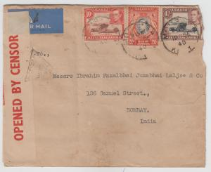 K.U.T.  1940  Mombasa  Cover To India Censored  2 Scans  62330