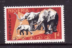 Nigeria-Sc#258-unused hinged 1p red & multi Elephants-Animals-1969-72-