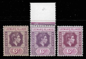 Leeward Islands 1938 KGVI 6d ALL 3 papers and shades SG 109, 109a, 109b mint £62