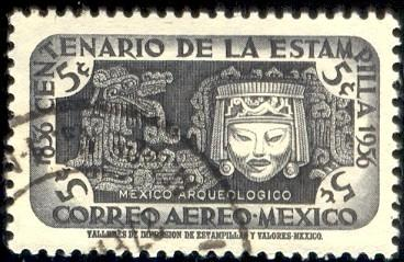 Ornaments & Mask, Archeological Era, Mexico stamp SC#C229 Used