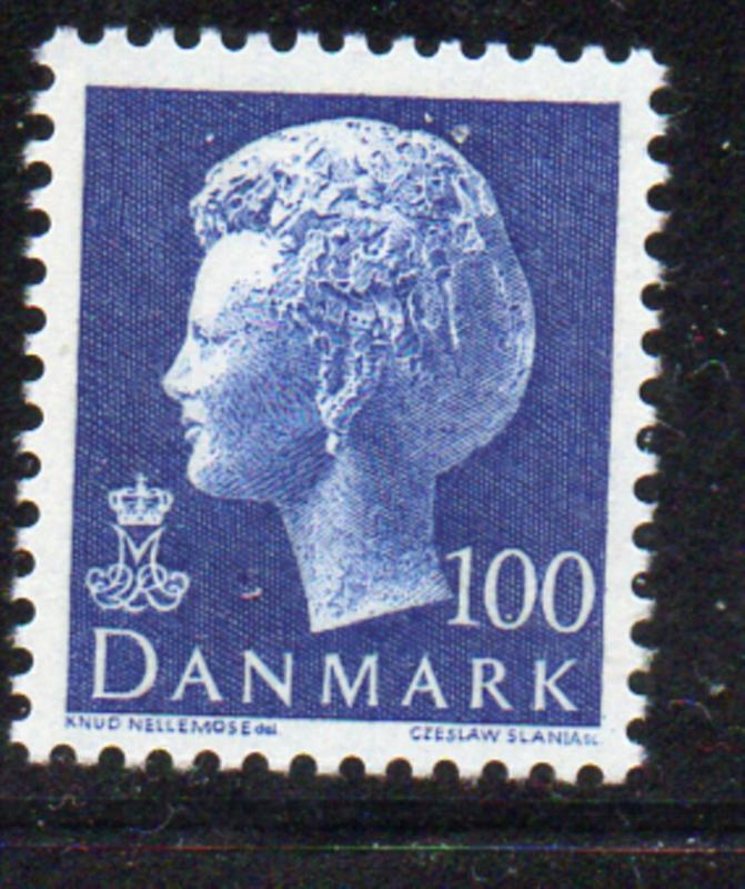 Denmark Sc 541 1976 100 ore deep ultra Queen stamp NH