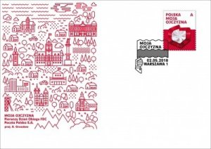 Poland 2018 FDC Stamp Poland My Country Map Flag