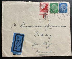 1938 Badgastein Germany Airmail Cover To Billesborg Denmark