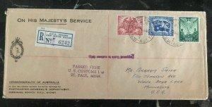 1946 Sydney Australia On Her Majesty Service cover OHMS To St Paul MNUSA