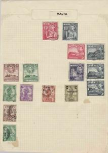 malta stamps on album page ref 10708