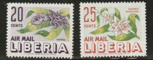 LIBERIA Scott C91-2 MNH** 1955 airmail flower set