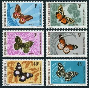 Burkina Faso 244-249,MNH.Michel 335-340. Butterflies,Moths 1971.