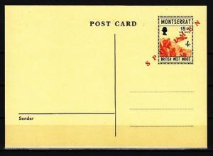 Montserrat, 1971 issue. Scouting Postal Card. Light Yellow & Specimen o/print.