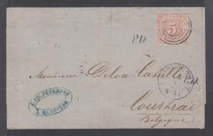 Thurn & Taxis Sc 13 on 1861 cover to Belgium, Hamburg Railway cancel