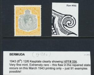 BERMUDA 1943, 12sh6d REPAIR TO SCROLL VAR HPF#59ii VERY RARE STAMP MLH