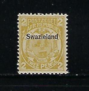 SWAZILAND SCOTT #3 1889 1P (OLIVE) (BLACK OVERPRINT) -MINT EXTRA  LIGHT HINGED