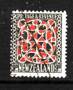 New Zealand-Sc#213-used 9p Maori design-1936-41-