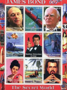 JAMES BOND 007 FILMS ACTORS Sheet Perforated Mint (NH)