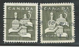 Canada #443  (2)  used  VF 1965   PD