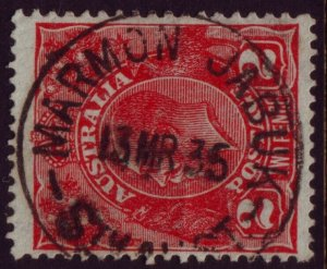 SOUTH AUSTRALIA POSTMARK MARMON JABUK ON 2d RED KGV DATED 1935 (A11622)