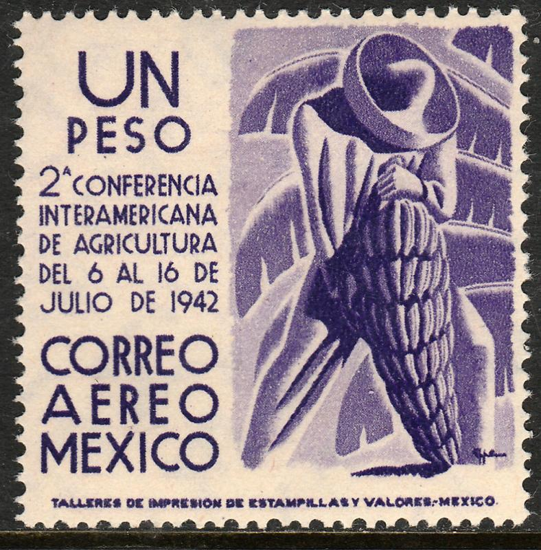 MEXICO C128, $1PESO Agricultural Conference. MINT, NEVER HINGED..F-VF.