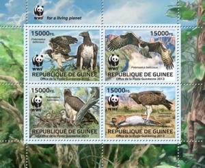 GUINEA 2013 SHEET WWF WILDLIFE LES RAPACES BIRDS OF PREY OISEAUX PROIE gu13301a