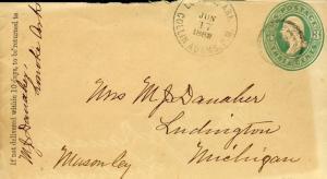 US LONOKE, AR 6/17/1882 3C POSTAL STATIONERY COVER TO LUDNIGTON, MI AS SHOWN