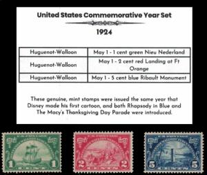 1924 Complete Mint Year Set of Vintage Commemorative Stamps