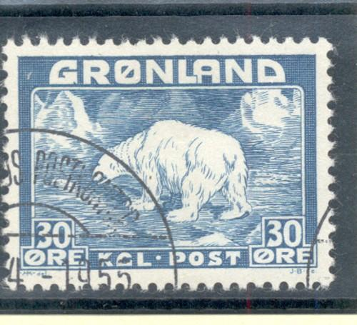 Greenland Sc 7 1938 30 ore Polar Bear stamp used