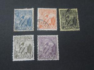French Guiana 1905 Sc 61,65,67,70,71 MH