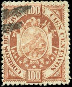 Bolivia Scott #46R Paris Reprint on Thick Paper Used Fraudulently Canceled Paris