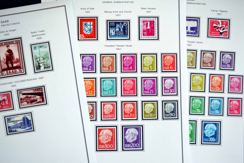 COLOR PRINTED SAAR 1920-1959 STAMP ALBUM PAGES (39 illustrated pages)