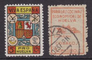 Spain, Huelva Provincial Tax Stamps,  Bar 1,8, 1936 2 diff fiscals