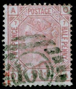 SG141, 2½d rosy mauve plate 7, USED. Cat £85. OA