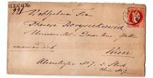 letter  1883 : jordanow - wien , reco, attest babor