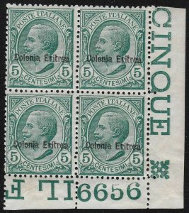 1908 Eritrea, N° 31a Block Di 4 With Number Di Board MNH