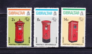 Gibraltar 307-309 Set MNH UPU, Pillar Boxes (C)