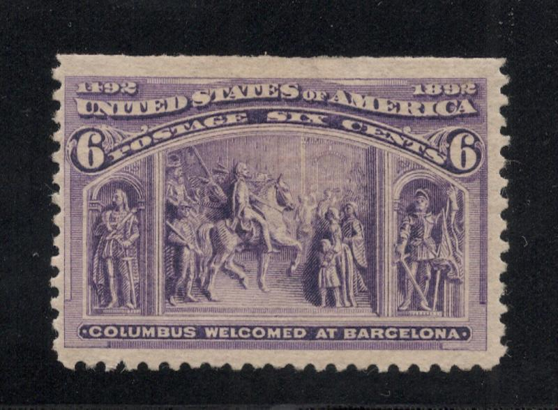 US#235 Purple - 6 Cents - Columbus Welcomed at Barcelona - O.G.