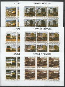 KV035 2003 S. TOME & PRINCIPE NEW TRANSPORT TRAINS LOCOMOTIVES !!! 6SET MNH