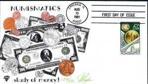 Wonderful Pugh Designed/Painted Numismatics Money  FDC...Only 171 Created!